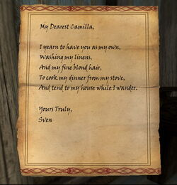 Faendal's Fake Letter from Sven