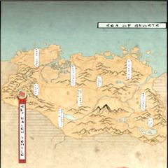 Mapa w stylu akavirskim, ze stylizowanymi na akavirskie, tamrielicznymi literami.