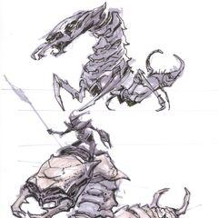 Grafika koncepcyjna Falmera ujeżdzającego Chaurusa