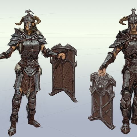 Concept art przedstawiający dwóch wojowników z tym oto hełmem