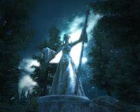 Статуя Вермины в Сиродиле в ночи