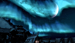 Aurora & Half Moon Over Windhelm Skyrim