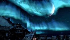 Aurora & Half Moon Over Windhelm Skyrim