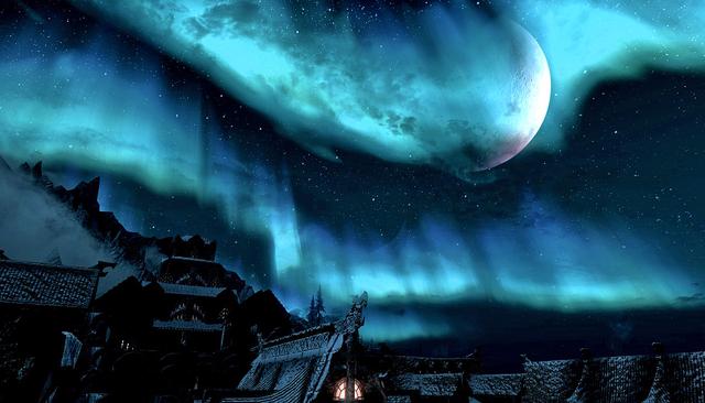 File:Aurora & Half Moon Over Windhelm Skyrim.png