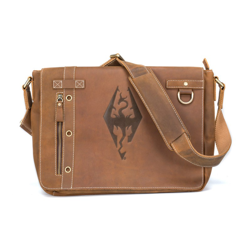 Imperial Dragon Symbol Leather Messenger Bag Elder Scrolls