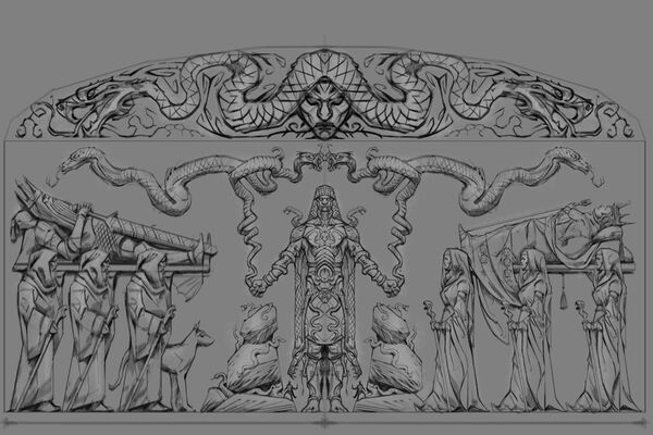 Płaskorzeźba wąż (Conceptart) by Adam Adamowicz