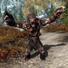 Opancerzony troll z gry The Elder Scrolls V: Skyrim
