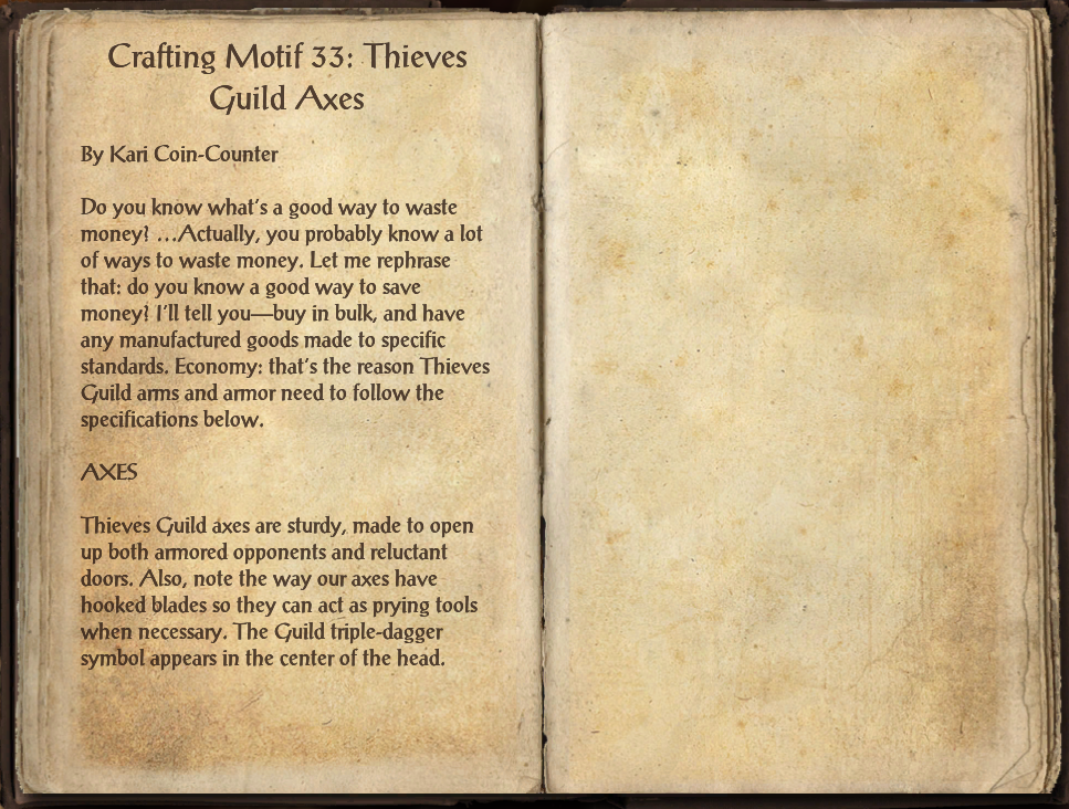 Crafting Motif 33 Thieves Guild Style Elder Scrolls Fandom