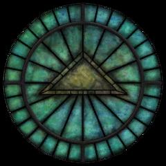 Witraż z symbolem Julianosa z gry The Elder Scrolls IV: Oblivion