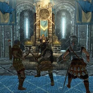 Tulius i Legat Rikke przeciwko Ulfrikowi i Galmarowi podczas Bitwy o Wichrowy Tron.