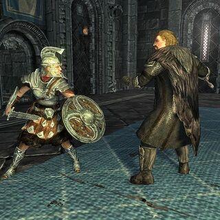 Rikke walczy z Ulfrikiem w trakcie Bitwy o Wichrowy Tron