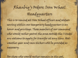 Rhanbiq's Orders: Iron Wheel Headquarters