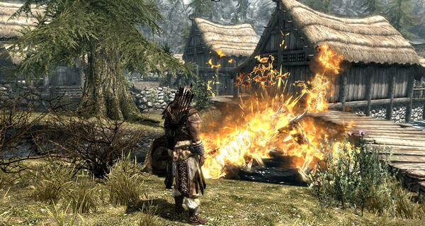 Skyrim Dragon attack at Riverwood 4