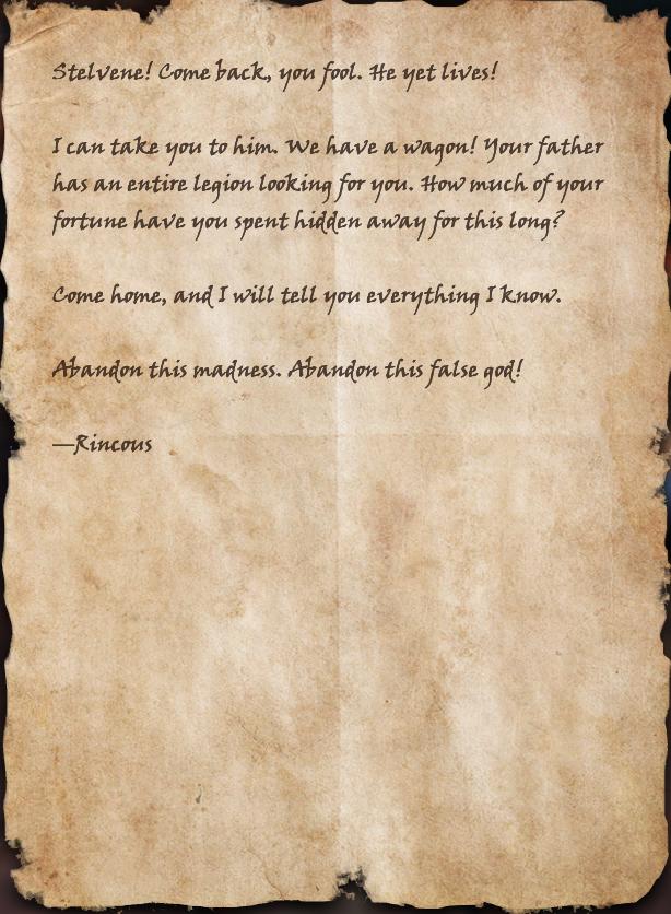 Letter to Stelvene Lothaire | Elder Scrolls | FANDOM powered