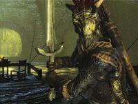 Argonian with sword