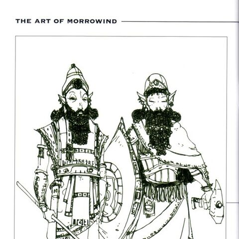 Szkic dwemerów z książki The Art of Morrowind