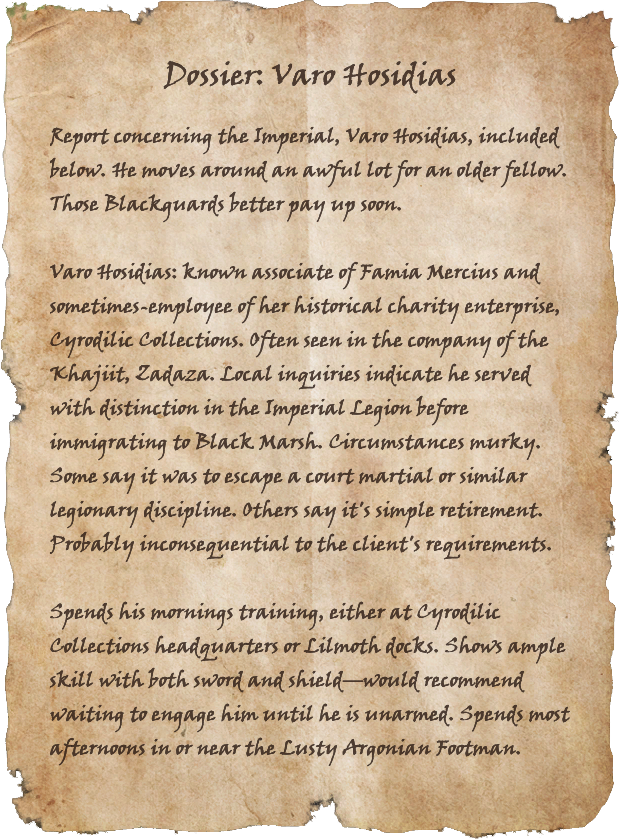 Dossier: Varo Hosidias   Elder Scrolls   FANDOM powered by Wikia