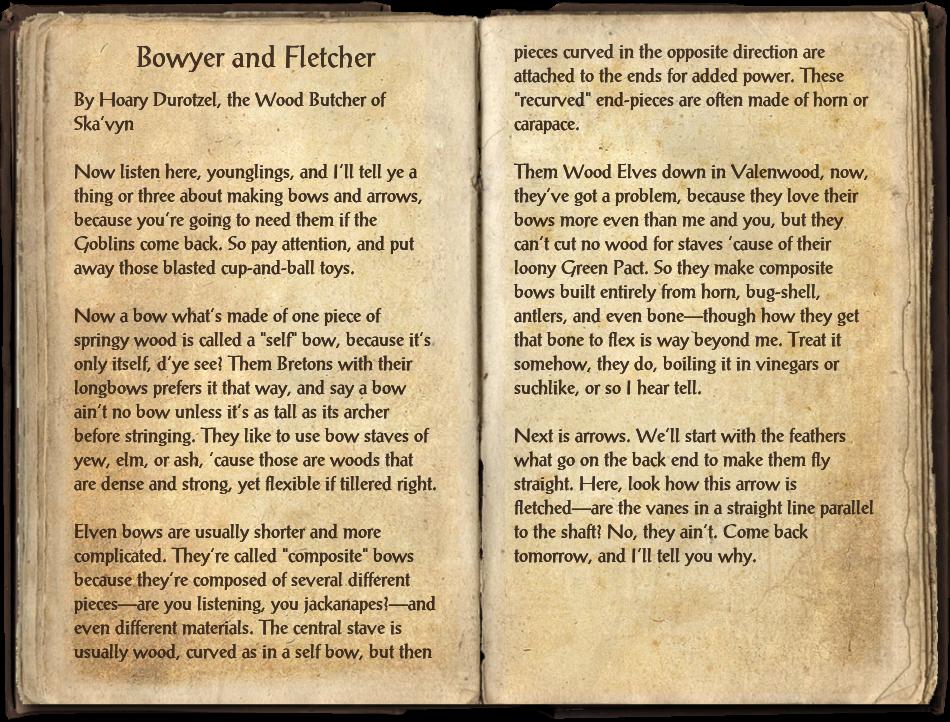 Bowyer and Fletcher | Elder Scrolls | FANDOM powered by Wikia