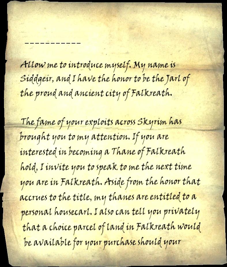 Letter from the jarl of falkreath elder scrolls fandom powered page 1 spiritdancerdesigns Image collections