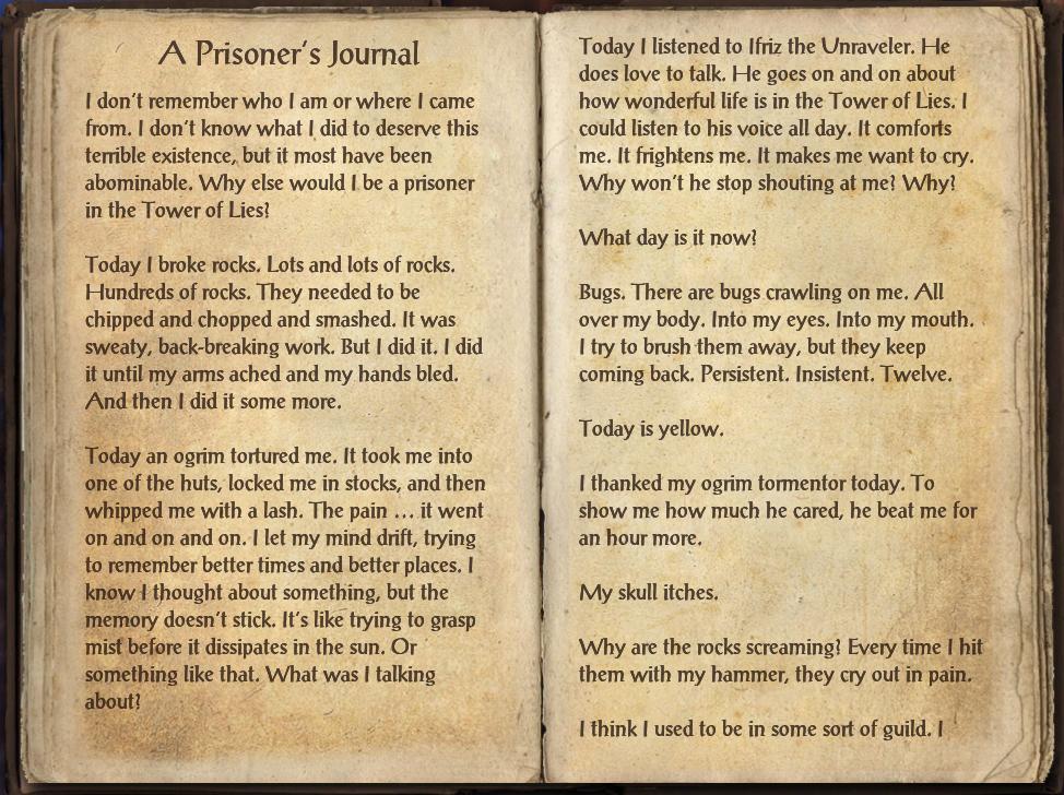 A Prisoner's Journal | Elder Scrolls | FANDOM powered by Wikia
