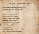 Valyia's Cargo Manifest