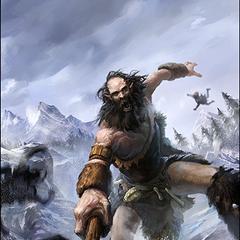 """Karta """"Wojowniczy gigant"""" z gry The Elder Scrolls Legends"""