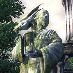 Statua Akatosha w Cesarskim Mieście z gry The Elder Scrolls IV: Oblivion