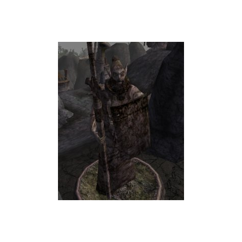 Dwemerowa statua, przy ruinach w Morrowind, z gry The Elder Scroll III: Morrowind
