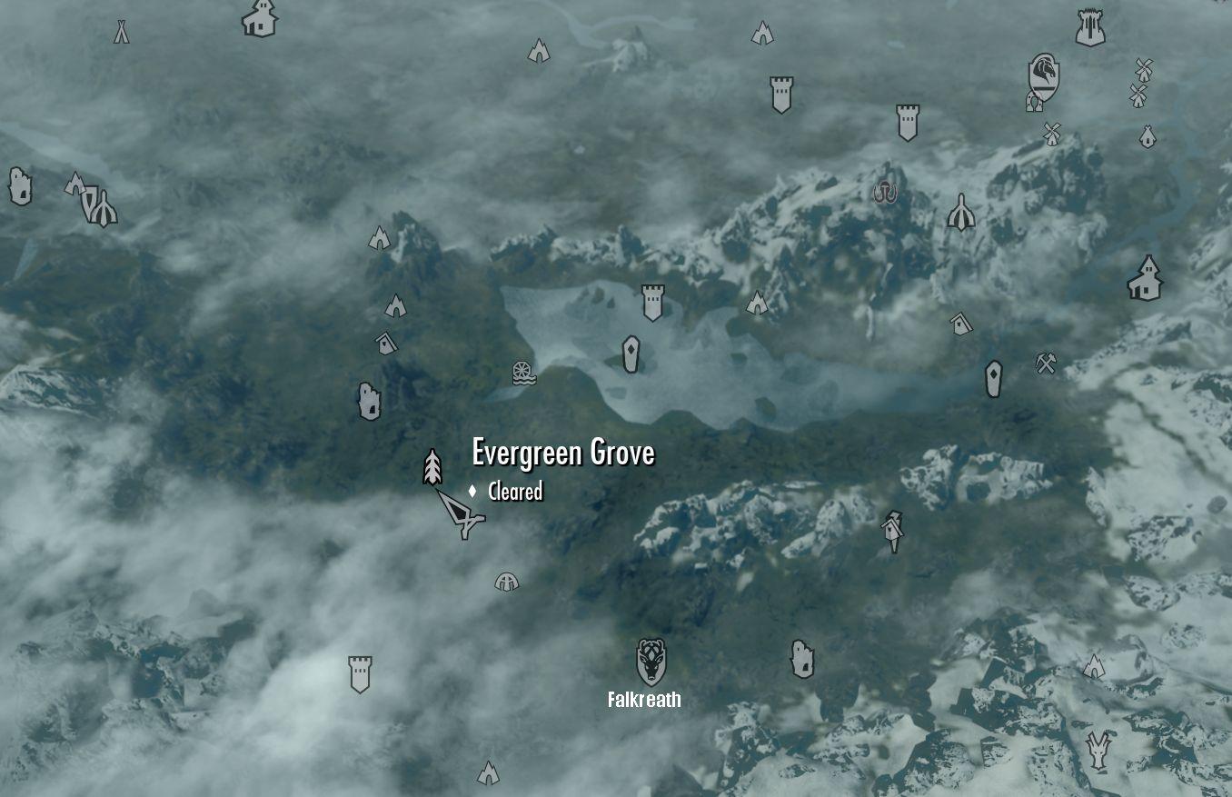 Image Skyrim map Evergreen Grovejpg Elder Scrolls FANDOM