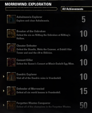 Morrowind Exploration Achievements