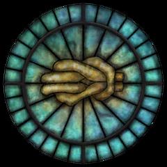 Witraż z symbolem Mary z gry The Elder Scrolls IV: Oblivion