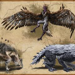 Grafika koncepcyjna Harpii, Echatere i Durzoga