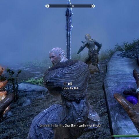 Felldir Stary podczas walki.