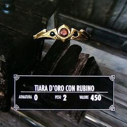Tiara d'oro con rubino