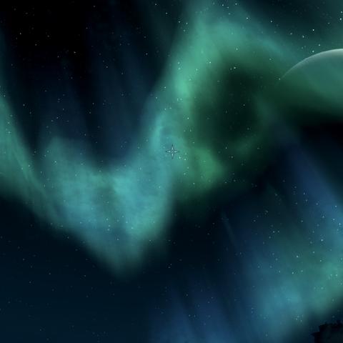 Masser i Secunda na nocnym niebie Skyrim.