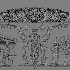 Pełna płaskorzeźba portretująca Marę z gry The Elder Scrolls V: Skyrim