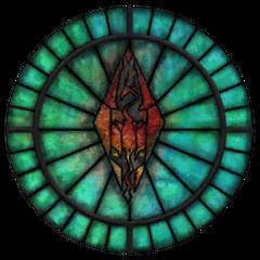 Witraż z symbolem Talosa z gry The Elder Scrolls IV: Oblivion