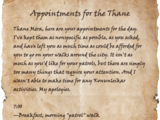 Appointments for the Thane