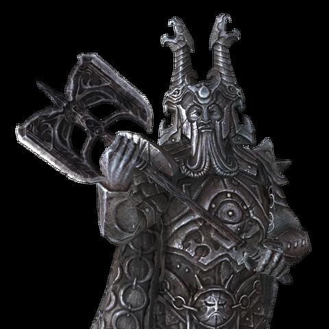 Posąg Ysgramora dzierżącego Wuuthrada