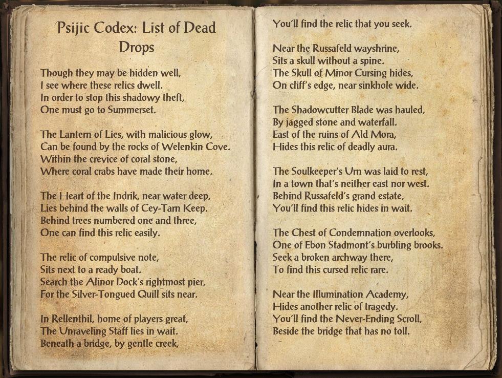 Psijic Codex: List of Dead Drops | Elder Scrolls | FANDOM powered by