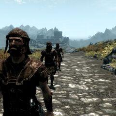 Żołnierze w kolumnie na trakcie