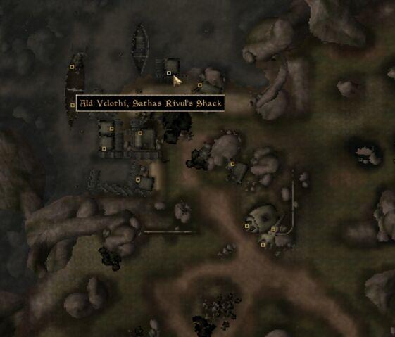 File:TES3 Morrowind - Ald Velothi - Sathas Rivul's Shack - location map.jpg