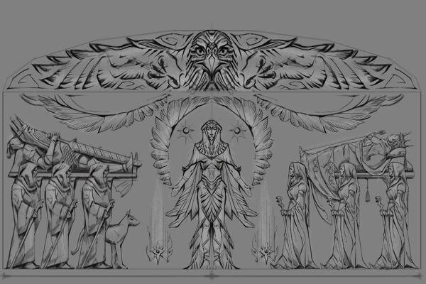 Płaskorzeźba jastrząb (Conceptart) by Adam Adamowicz