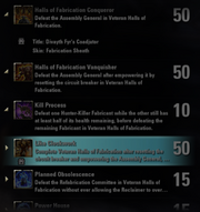 Halls of Fabrication Achievements - 2