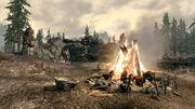 Паровой лагерь - костёр и великан