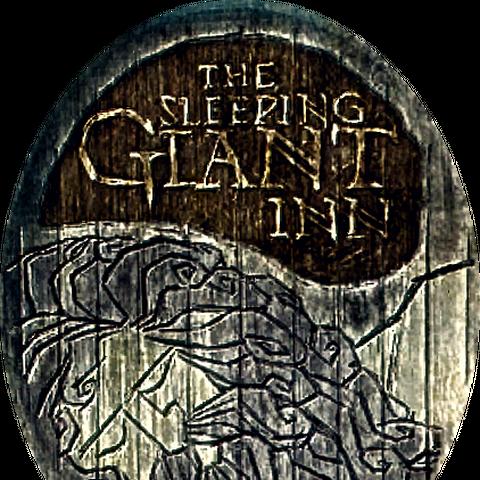"""Szyld gospody """"Pod Śpiącym Gigantem"""""""