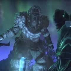 Gigantka krzycząca na postać z gry The Elder Scrolls Online