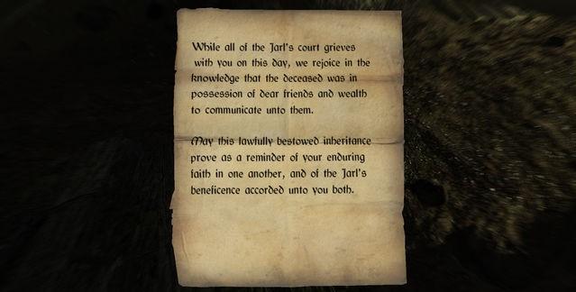 Letter of Inheritance   Elder Scrolls   FANDOM powered by Wikia