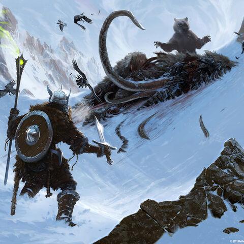 Grafika koncepcyjna niedźwiedzia nad martwym mamutem
