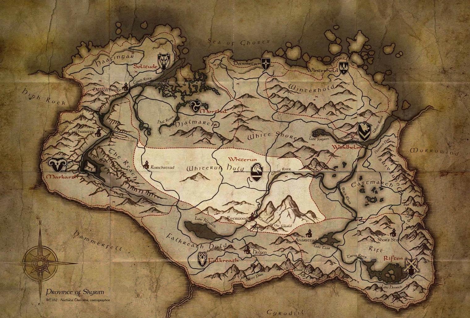 Map Whiterun Hold Elder Scrolls